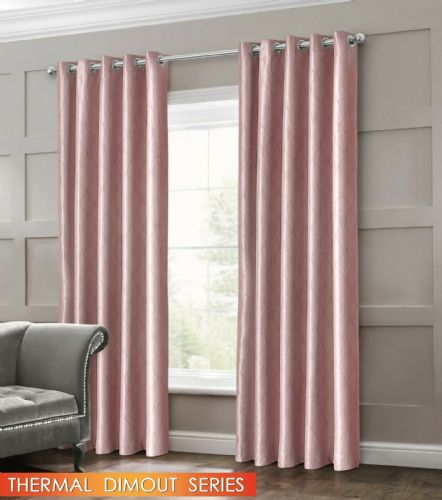 GEOMETRIC WAVE EMBOSSED LIVINGROOM BEDROOM THERMAL BLACKOUT RING TOP CURTAINS BLUSH PINK